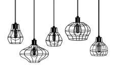Hand gezeichneter Satz unterschiedliche geometrische Dachbodenlampen und Eisenlampenschirm Lizenzfreies Stockfoto