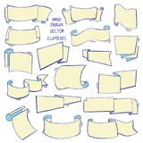 Hand gezeichneter Satz verschiedene Bänder Gestaltungselemente für Grußkarten, Fahnen, Einladungen Skizze, Vektorillustration vektor abbildung