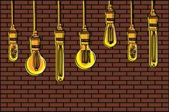 Hand gezeichneter Satz verschiedene geometrische Dachbodenlampen gegen einen Backsteinmauerhintergrund Lizenzfreies Stockbild