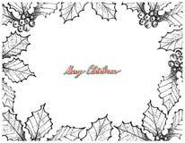 Hand gezeichneter Satz Weihnachten Holly Twig Frame Lizenzfreie Stockfotografie