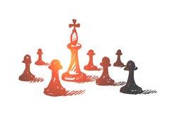 Hand gezeichneter Schachkönig zwischen Pfand Stockfotografie