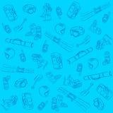 Hand gezeichneter Ski Seamless Pattern Stockfoto