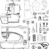 Hand gezeichneter Skizzen-nähender Satz Stockbilder