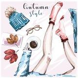 Hand gezeichneter stilvoller Herbst stellte mit Kaffeetasse, Herbstlaub, den Beinen in den Socken, Strickmütze, Brillen, Anmerkun stock abbildung
