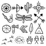 Hand gezeichneter Symbolsatz des Gekritzelvektoramerikanischen ureinwohners Lizenzfreies Stockfoto