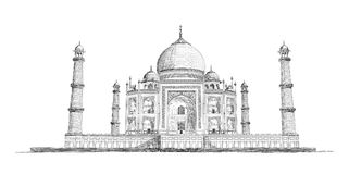 Hand gezeichneter Taj Mahal Vector Sketch Illustration Lizenzfreies Stockbild