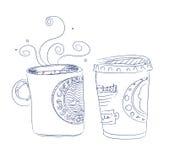 Hand gezeichneter Tasse Kaffee Lizenzfreie Stockfotos