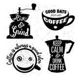 Hand gezeichneter Typografiekaffeeposter eingestellt Stockfoto
