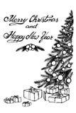 Hand gezeichneter Vektor Weihnachtsbaum und Geschenke Stockfotos