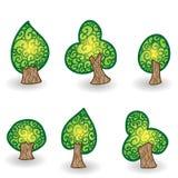 Hand gezeichneter Vektorbaumsatz für Ihr Design Stockfotografie