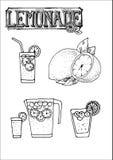 Hand gezeichneter Vektorikonensatz des Limonadenzeichens, -schale, -glases für Cafeteriamenü oder -zeichens Stockfotos
