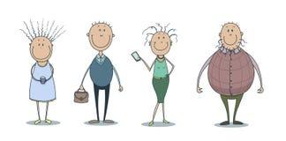 Hand gezeichneter Vektorillustrationssatz lustigen netten lächelnden Leute Stockbilder