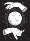 Hand gezeichneter Vollmond mit Strahlen des Lichtes in den Händen der Wahrsagerlinie Kunst und Punkt arbeiten Schicker Tätowierun Stockfoto