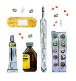 Hand gezeichneter waterolor Satz des Medizinzubehörs, -pillen, -flasche und -rohrs lizenzfreie abbildung