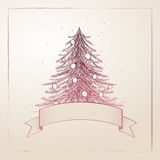 Hand gezeichneter Weihnachtsbaum Lizenzfreie Stockbilder