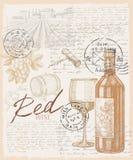 Hand gezeichneter Wein Stockfotografie
