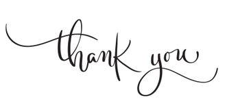 Hand gezeichneter Weinlese Vektortext danken Ihnen auf weißem Hintergrund Kalligraphiebeschriftungsillustration EPS10