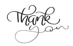 Hand gezeichneter Weinlese Vektortext danken Ihnen auf weißem Hintergrund Kalligraphiebeschriftungsillustration EPS10 lizenzfreie abbildung