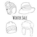 Hand gezeichneter Winterhut-Vektorsatz Stockfoto