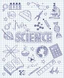 Hand gezeichneter Wissenschaftssatz Stockfoto