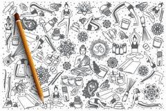 Hand gezeichneter Yogavektor-Gekritzelsatz lizenzfreie abbildung