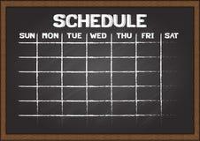 Hand gezeichneter Zeitplan auf Tafel Stockfotos