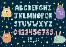 Hand gezeichnetes Alphabet mit netten Monstern lizenzfreie abbildung