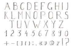 Hand gezeichnetes Alphabet Vektor-ABC, Guss, Alphabet Stockfotos
