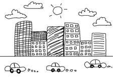 Hand gezeichnetes Architectural& x28; Idee, Zeichnung, City& x29; auf weißem backgroun Stockbild