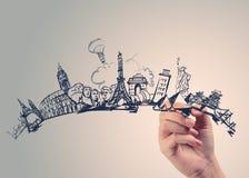 Hand gezeichnetes auf der ganzen Welt reisen stockfoto