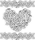 Hand gezeichnetes Blumenherzmonochrom Herz von Rosen für die Antidruckfarbtonseite vektor abbildung