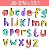 Hand gezeichnetes buntes englisches Alphabet Stockbilder