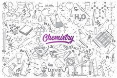 Hand gezeichnetes Chemiegekritzel eingestellt mit Beschriftung vektor abbildung