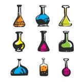 Hand gezeichnetes chemisches Reagenzglas Stockbilder