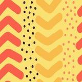 Hand gezeichnetes Chevron und Dots Vector Seamless Pattern Lizenzfreies Stockbild