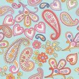 Hand gezeichnetes dekoratives nahtloses Muster mit Paisley Stockfoto