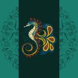 Hand gezeichnetes dekoratives Vektorseepferdchen Stockfoto
