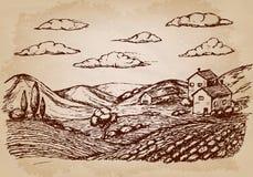 Hand gezeichnetes Dorf bringt Skizze und Natur unter Auch im corel abgehobenen Betrag lizenzfreie abbildung