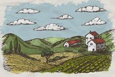 Hand gezeichnetes Dorf bringt Skizze und Natur unter Auch im corel abgehobenen Betrag stock abbildung