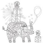 Hand gezeichnetes Entwurfszirkus-Elefantgekritzel Lizenzfreie Stockfotografie