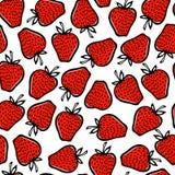 Hand gezeichnetes Erdbeermuster Stockfoto