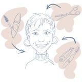 Hand gezeichnetes Frau scetch Stockfoto