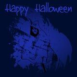 Hand gezeichnetes furchtsames Geistschattenbild des Gekritzels Schwarze Illustration, Blau malte Hintergrund Glückliches Hallowee Stockfotos