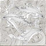 Hand gezeichnetes Gekritzel fischt auf Wellen, Antidruckfarbtonseite Stockfoto