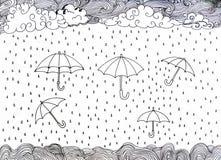 Hand gezeichnetes Gekritzel Regenschirm und Regen lizenzfreie abbildung