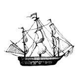 Hand gezeichnetes Gekritzelschiff Reise, Meer, Pirat Schwarze Illustration, weißer Hintergrund Lizenzfreies Stockfoto