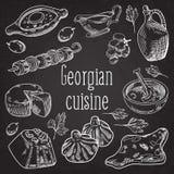 Hand gezeichnetes georgisches Lebensmittel auf Tafel Georgia Traditional Cuisine lizenzfreie abbildung
