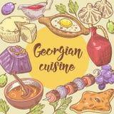 Hand gezeichnetes georgisches Lebensmittel-Design Georgia Traditional Cuisine mit Mehlkloß und Khinkali stock abbildung