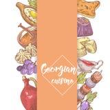 Hand gezeichnetes georgisches Lebensmittel-Menü-Design Georgia Traditional Cuisine mit Mehlkloß und Khinkali stock abbildung