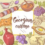 Hand gezeichnetes georgisches Lebensmittel-Menü Georgia Traditional Cuisine lizenzfreie abbildung